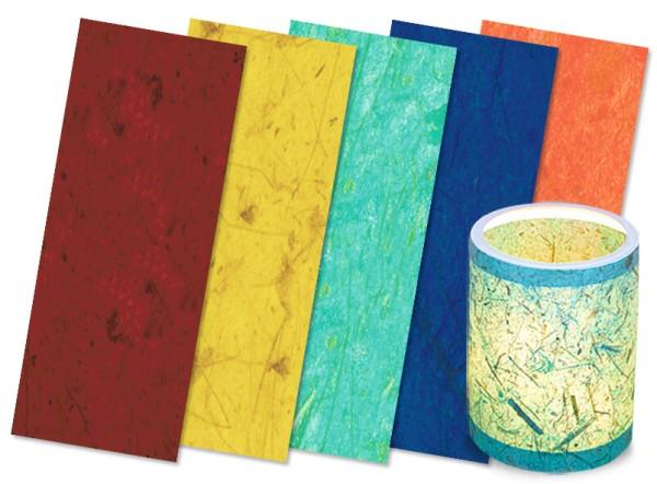URSUS Packung Laternenzuschnitt Bananenpapier 20x50cm 5 Farben, sortiert 25Stk.