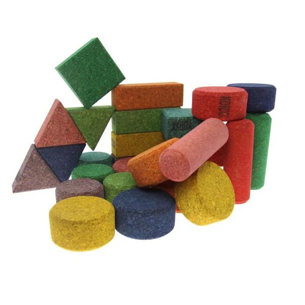 Korxx farbige Bauklötze in verschiedenen Formen 56 Stk.