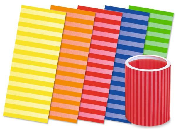 URSUS Packung Laternenzuschnitte 20x50cm gestreift in 5 Farben sortiert 25 Blatt