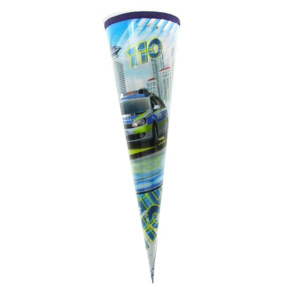 Kopie von Roth Schultüte Polizei 35cm, rund, Tüllverschluss blau, Silberfolie