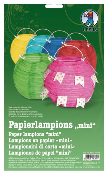 URSUS Packung Papierlampion MINI Bunt 6 Stk.